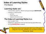 index of learning styles the basics