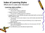 index of learning styles what are it s uses and misuses