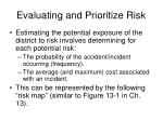 evaluating and prioritize risk