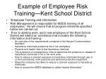 example of employee risk training kent school district