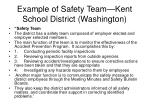 example of safety team kent school district washington