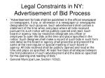 legal constraints in ny advertisement of bid process
