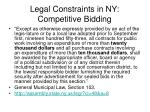 legal constraints in ny competitive bidding