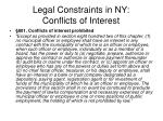 legal constraints in ny conflicts of interest