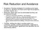 risk reduction and avoidance