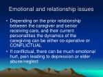 emotional and relationship issues