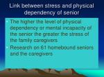 link between stress and physical dependency of senior