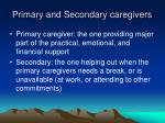 primary and secondary caregivers