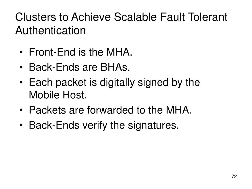 Clusters to Achieve Scalable Fault Tolerant Authentication