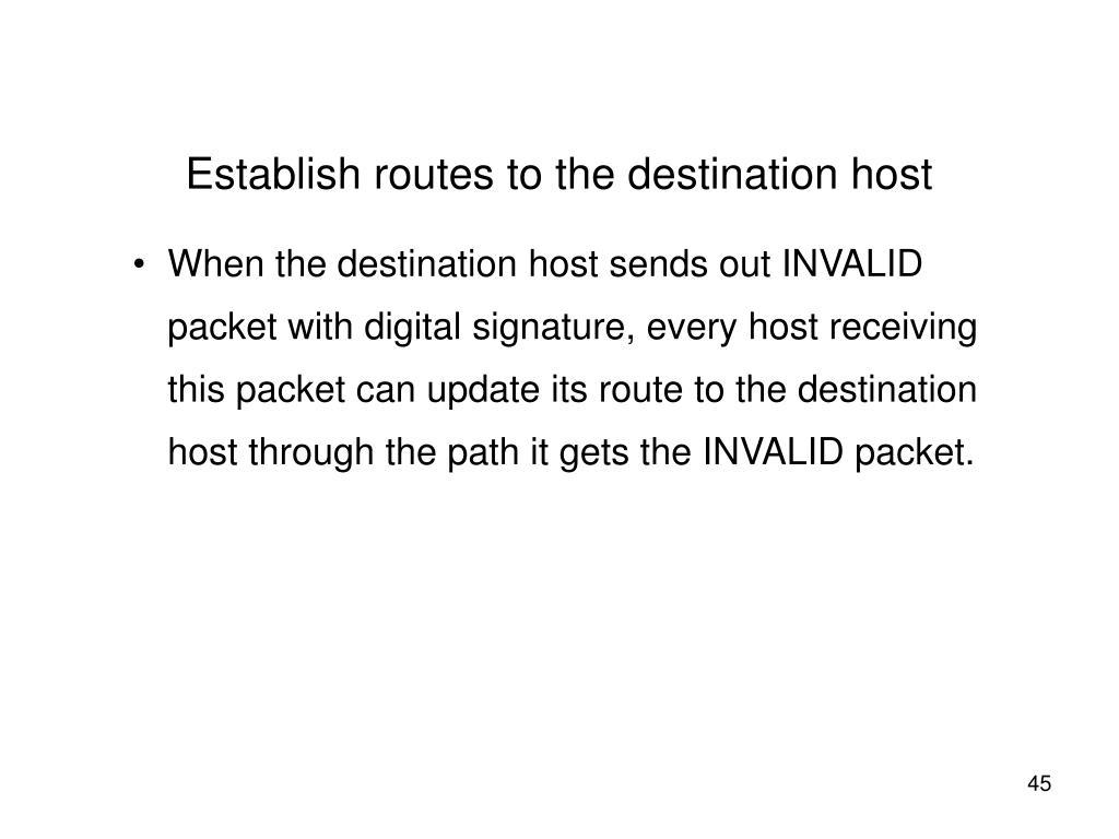 Establish routes to the destination host