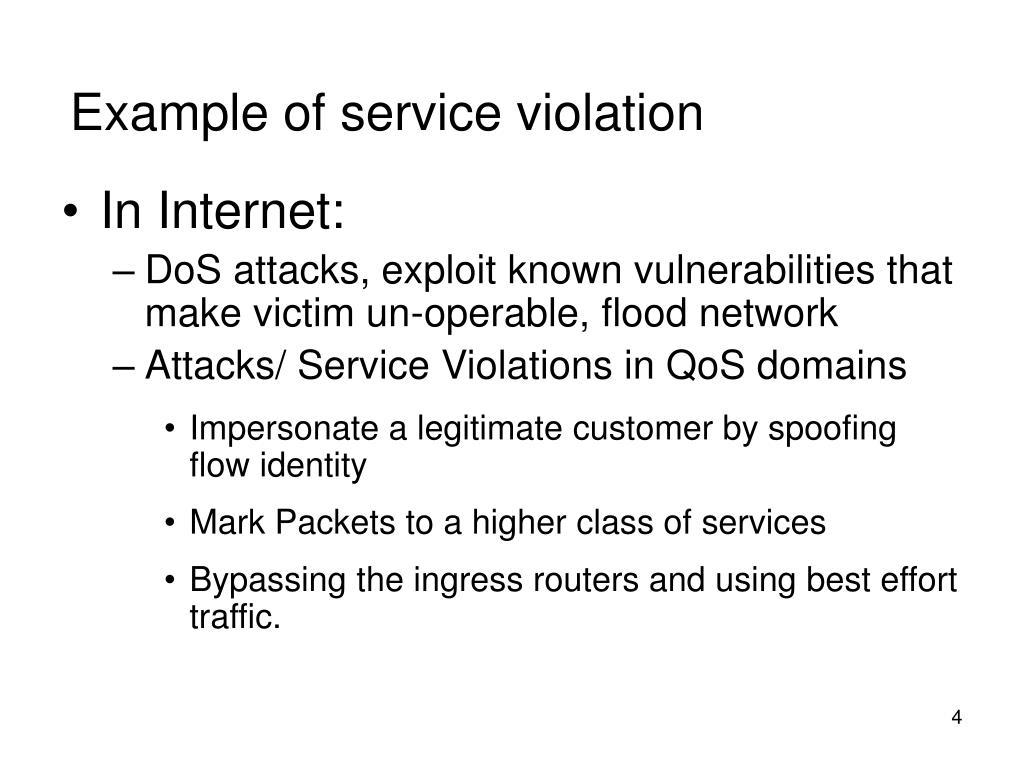 Example of service violation