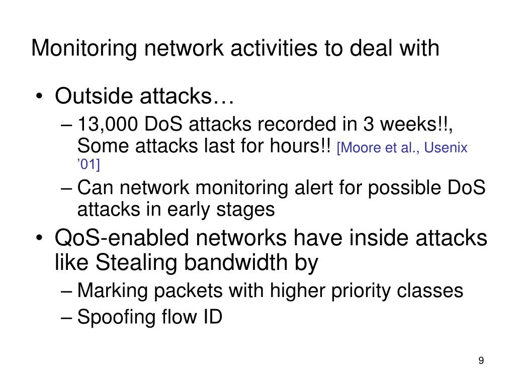 Monitoring network activities to deal with