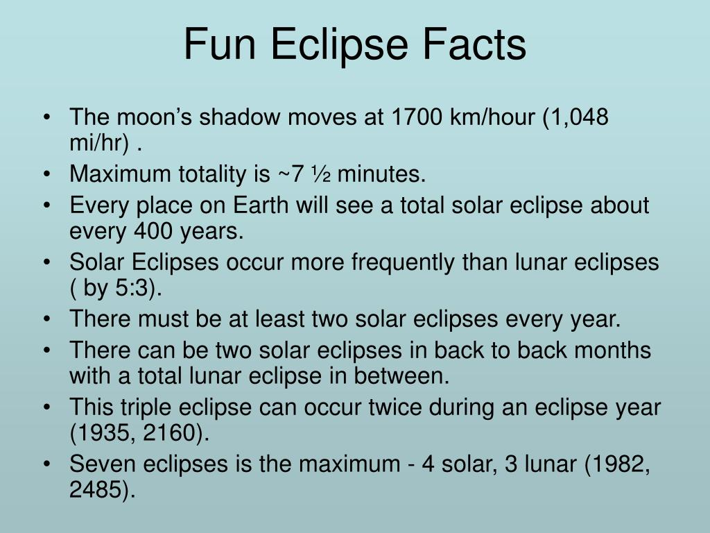 Fun Eclipse Facts