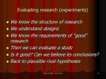 evaluating research experiments