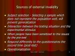 sources of external invalidity