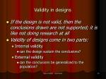validity in designs