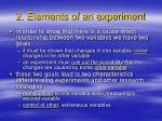 2 elements of an experiment