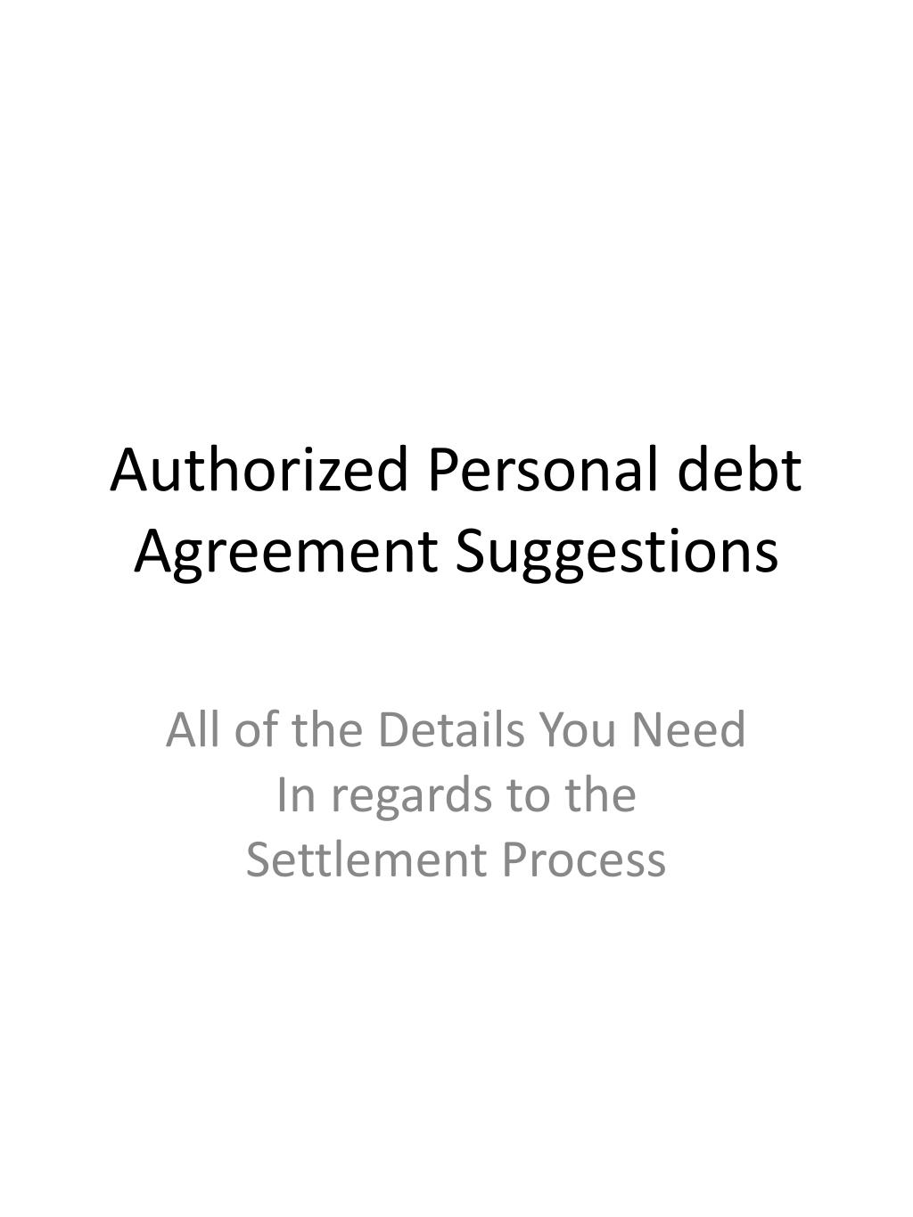 authorized personal debt agreement suggestions l.