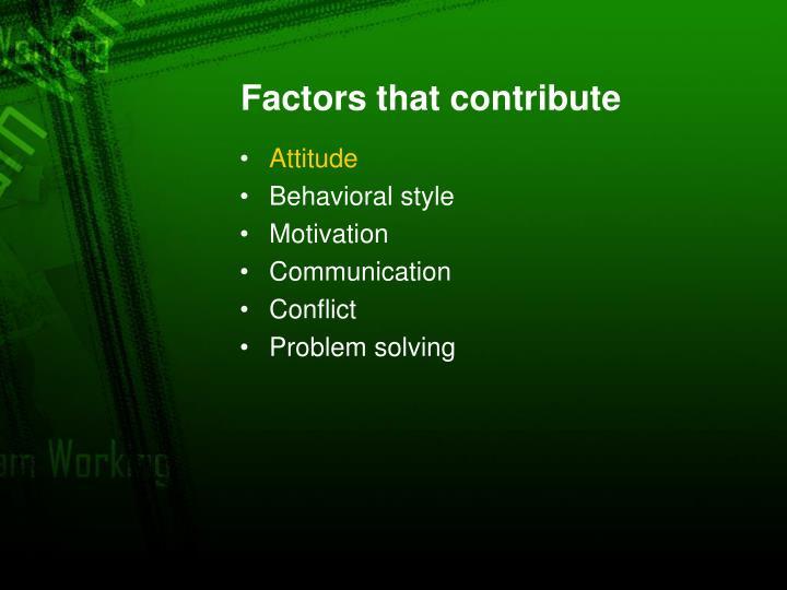 Factors that contribute