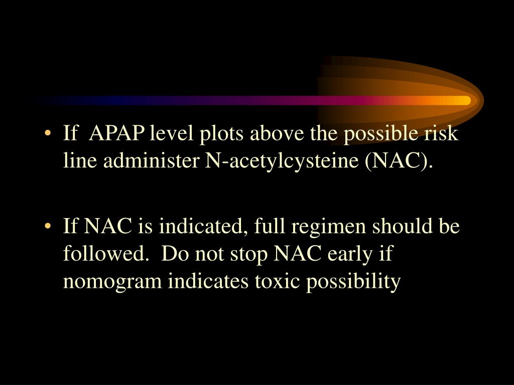 If  APAP level plots above the possible risk line administer N-acetylcysteine (NAC).