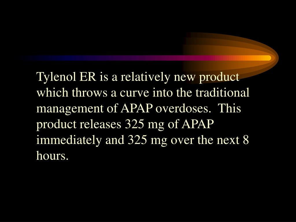 Tylenol ER is a relatively new product which throws a curve into the traditional management of APAP overdoses.  This product releases 325 mg of APAP immediately and 325 mg over the next 8 hours.