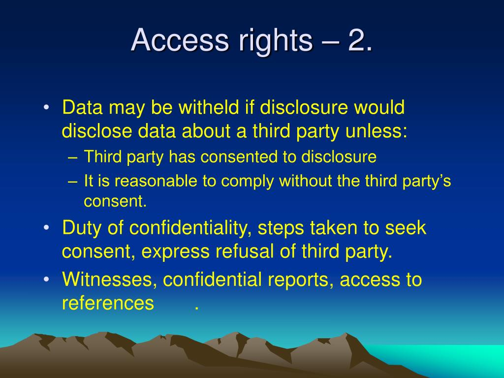 Access rights – 2.