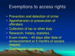 exemptions to access rights