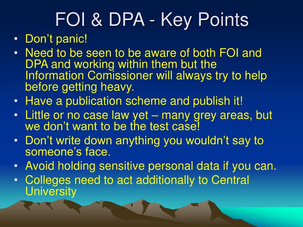 FOI & DPA - Key Points