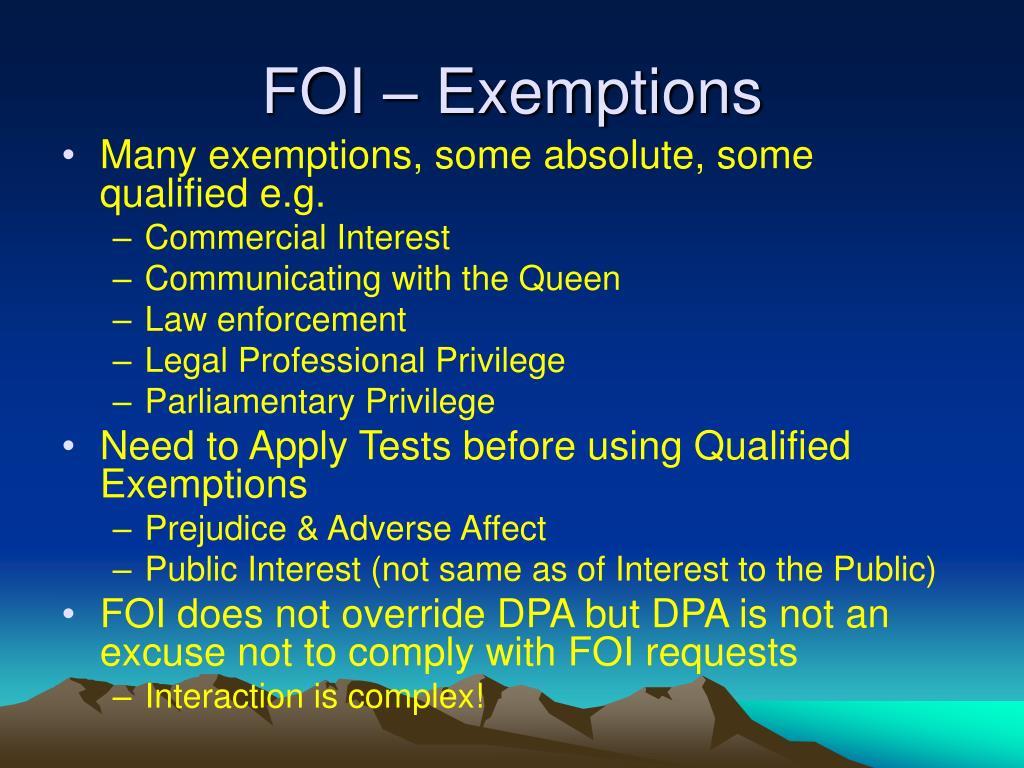 FOI – Exemptions