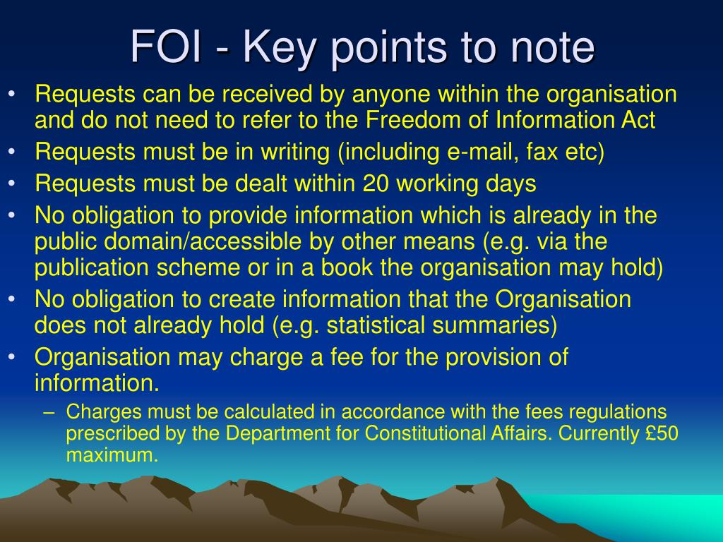 FOI - Key points to note