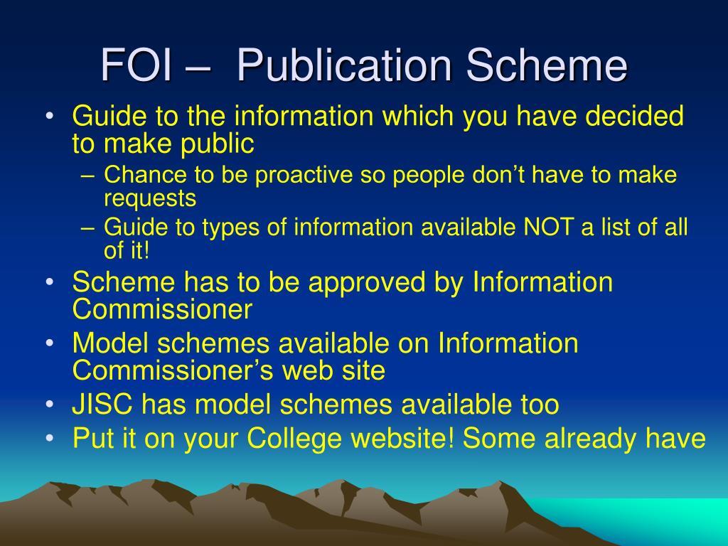 FOI –  Publication Scheme