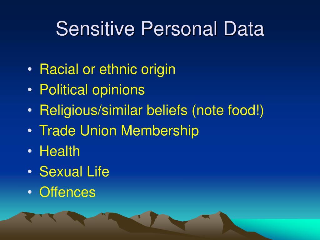 Sensitive Personal Data