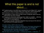 what this paper is and is not about