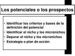 los potenciales o los prospectos