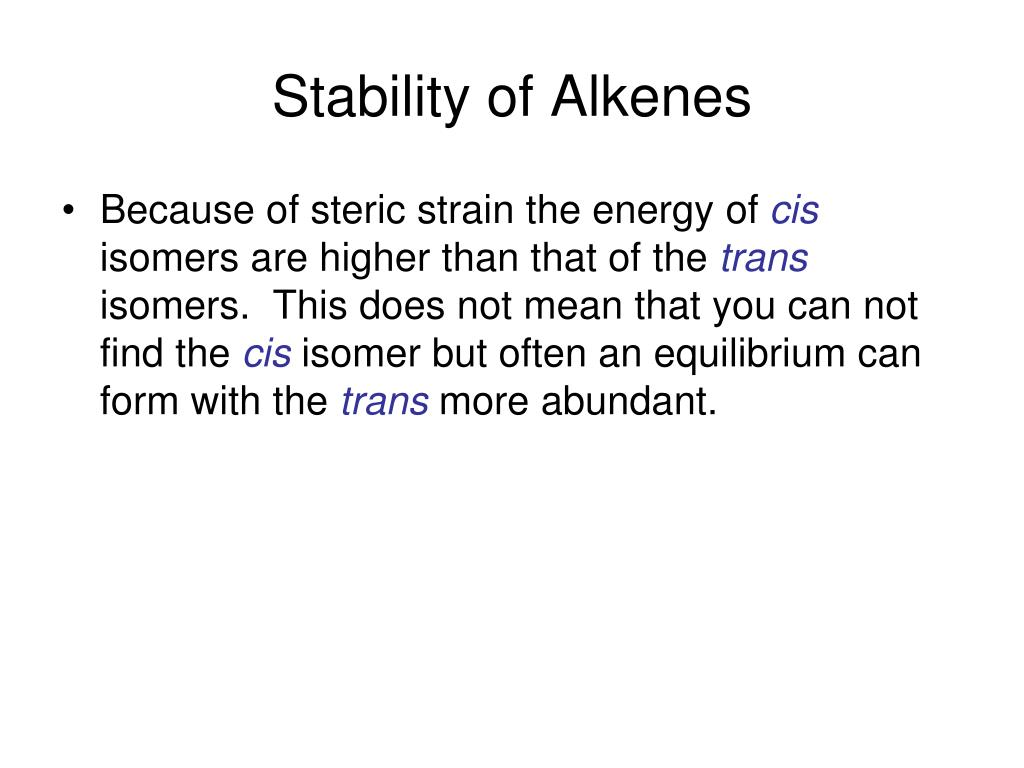Stability of Alkenes