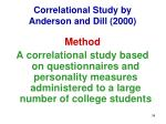 correlational study by anderson and dill 2000