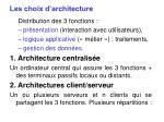 les choix d architecture