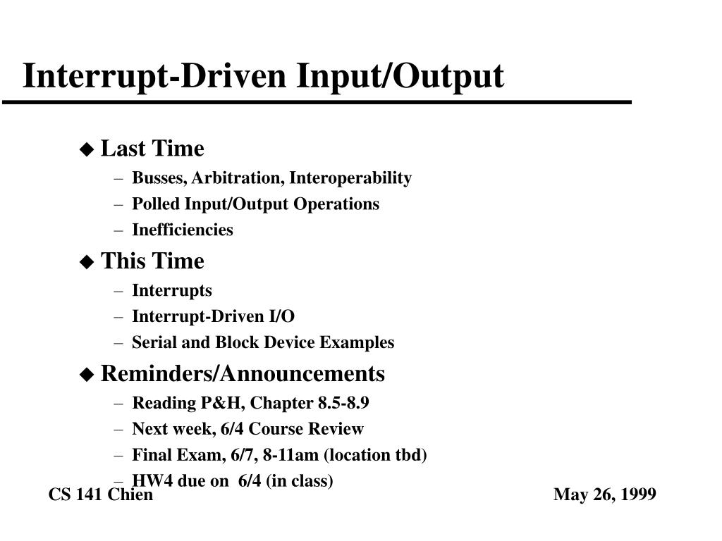 interrupt driven input output l.