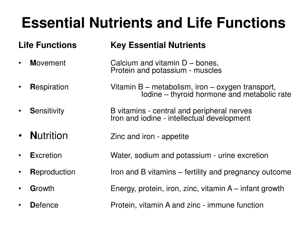 Essential Nutrients and Life Functions