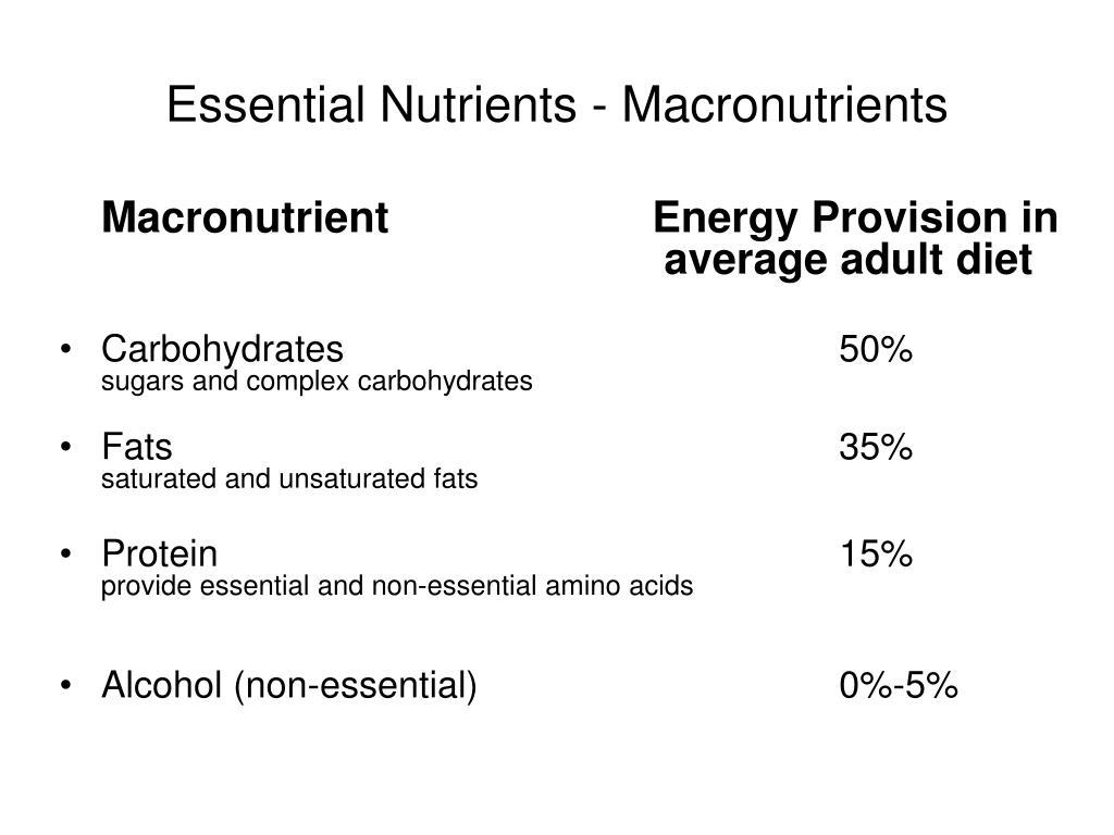 Essential Nutrients - Macronutrients