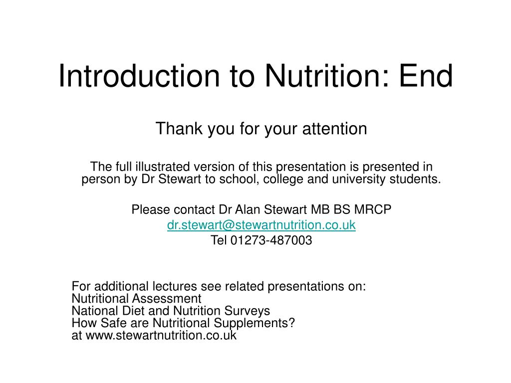 Introduction to Nutrition: End
