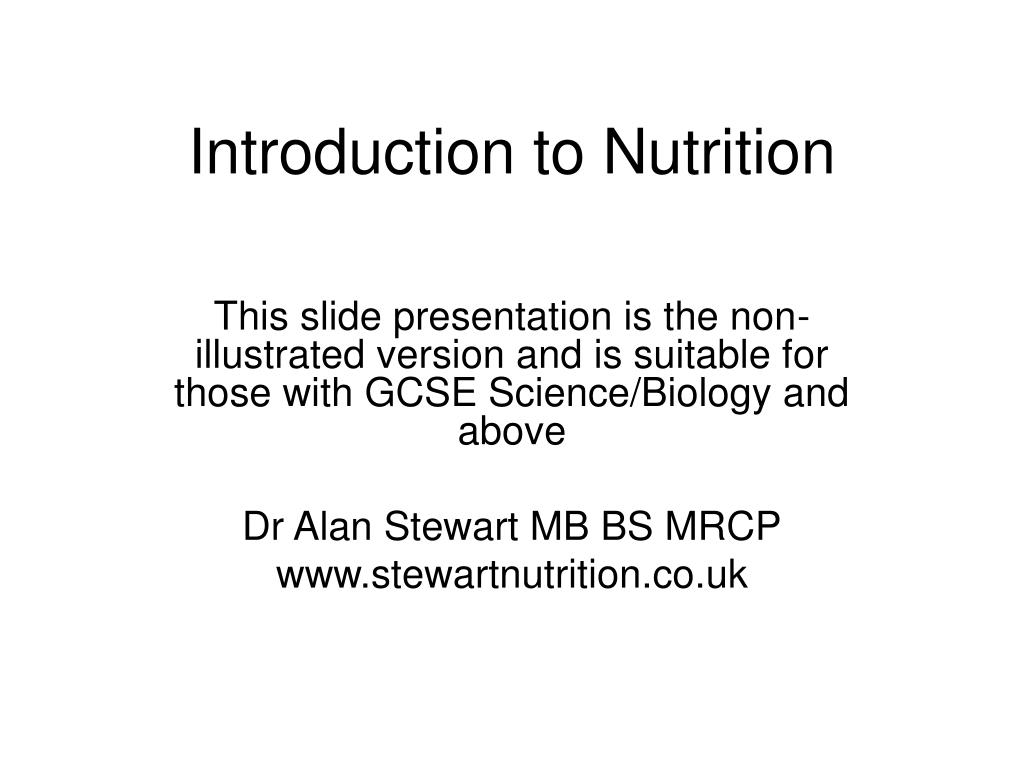 introduction to nutrition l.