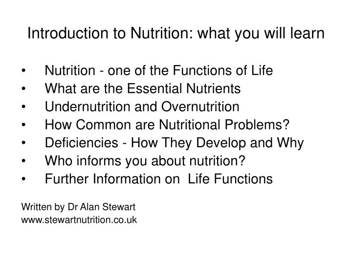 Introduction to nutrition what you will learn