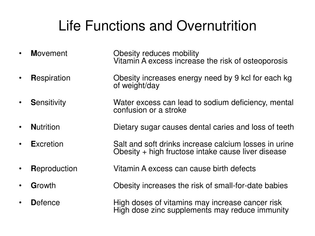Life Functions and Overnutrition