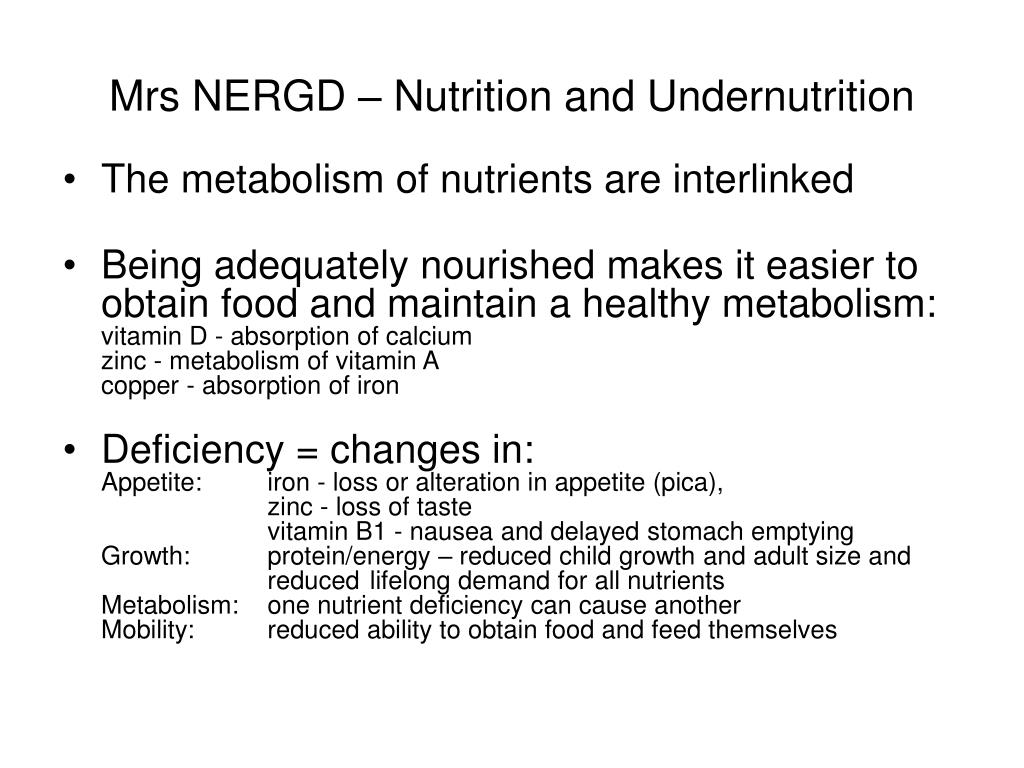 Mrs NERGD – Nutrition and Undernutrition