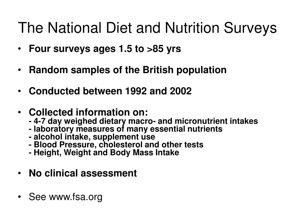 The National Diet and Nutrition Surveys