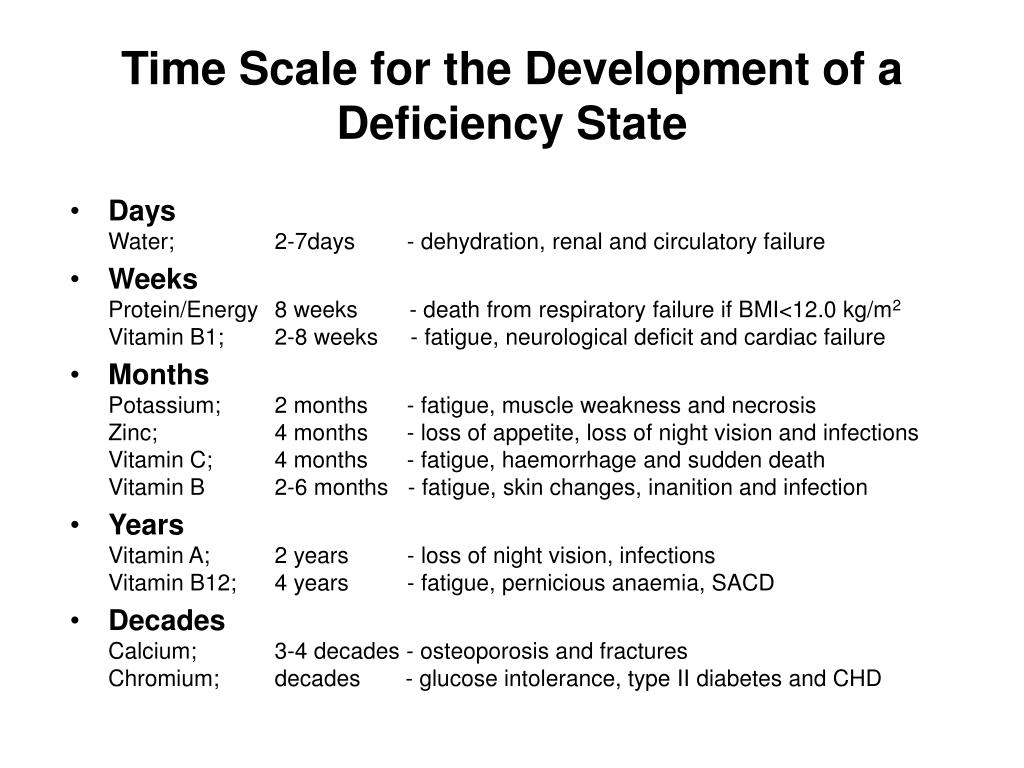 Time Scale for the Development of a  Deficiency State