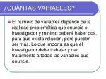 cu ntas variables