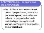 las variables componentes de la hip tesis
