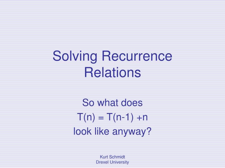solving recurrence relations n.